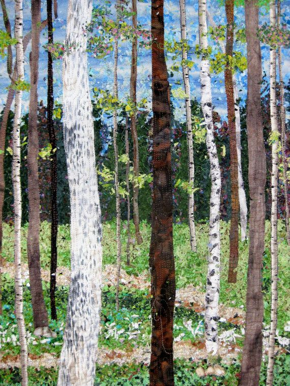 Fiber Art Spring Trillium Trails Art Quilt Confetti #ETSY #quiltsyteam @Sally McWilliam Manke, Fiber Artist
