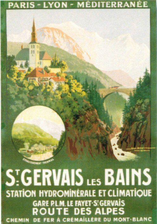 Vintage Railway Travel Poster - Saint-Gervais-les-Bains, Haute-Savoie, French Alps.