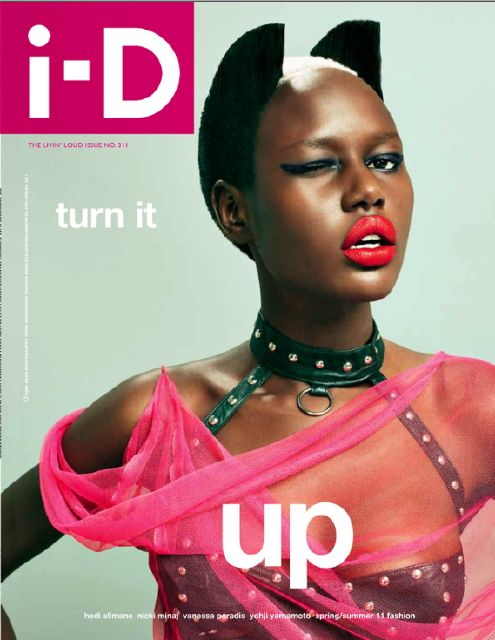 """Ajak Deng on the cover of I-D's Spring 2011, """"Livin' Loud"""" issue"""