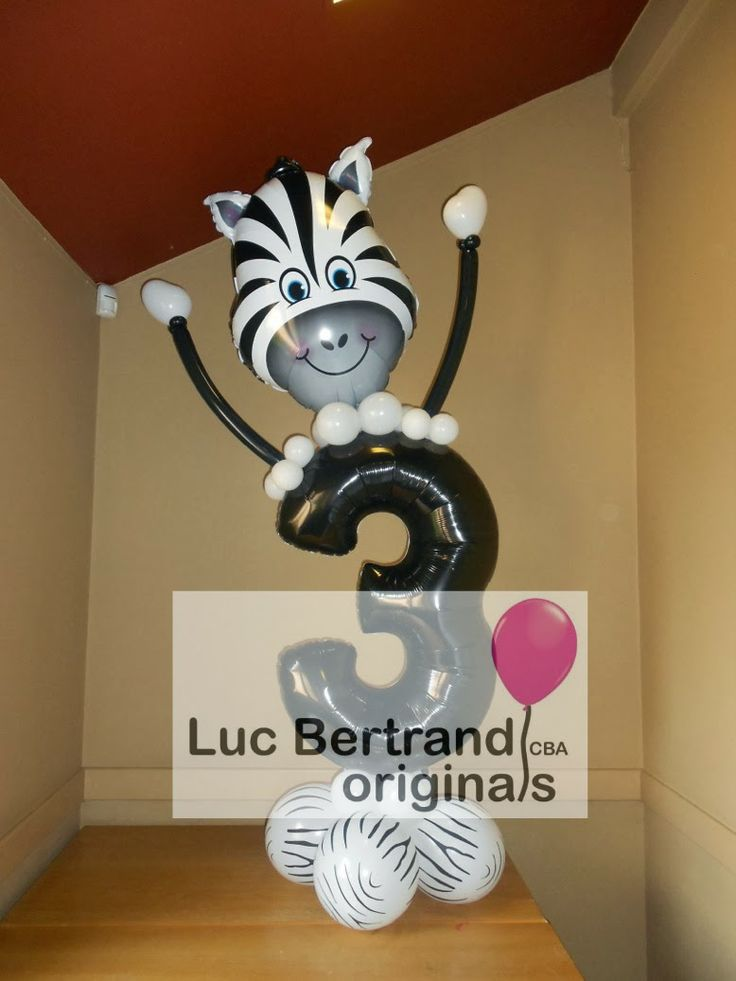 Check out this cute Zebra birthday balloon creation! It can be custo;ized with any age number. Creation by Luc Bertrand, CBA, from Blgium on the Very Best Balloon Blog. #qualatex #balloon #zebra #birthday