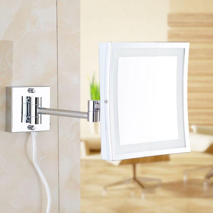 Photo Of Square Inch LED Light Wall mounted folding cosmetic mirror X Magnifying LED Makeup Mirror