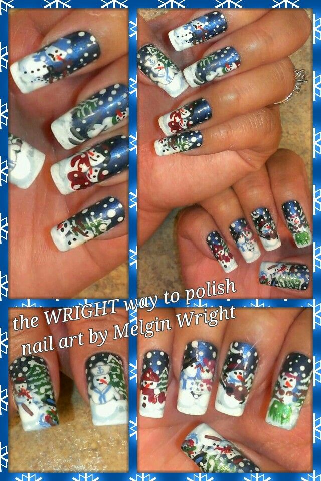 Snow Man and Snow Peeps- Hand painted nail art. Painted with Nail polish and acrylic paint by Melgin Wright  http://www.facebook.com/TheWrightWayToPolishNailArtByMelginWright  http://pinterest.com/melginswright/boards/