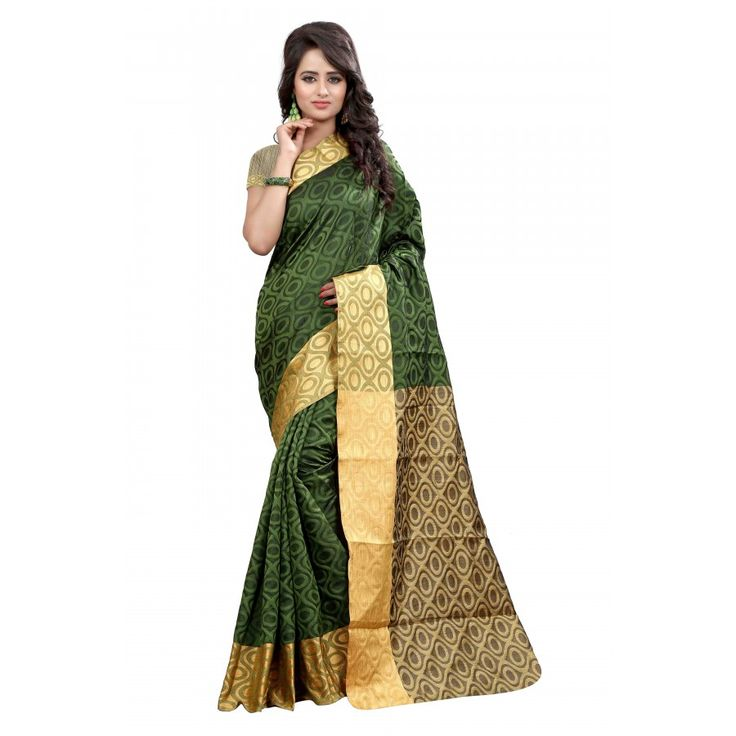 Preety Green Color Cotton Slik Saree at just Rs.925/- on www.vendorvilla.com. Cash on Delivery, Easy Returns, Lowest Price.