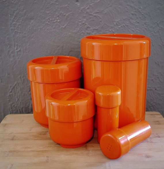 Vintage Glossy Orange 3 Stackable Canisters, Salt and Pepper Shakers Set Made in Canada by André Morin Design
