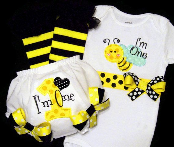 Do It In Pink And Lady Bug Instead Of Bumble Bee First Birthday Girl Outfit Im One Baby Party Ideas
