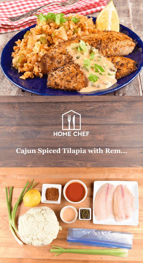 """Cajun Spiced Tilapia with Remoulade with cauliflower """"jambalaya"""""""