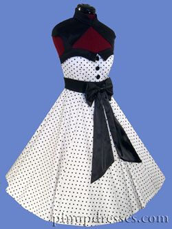 Pinup Polka Dot Retro 50s Style Circle Full Skirt Dress