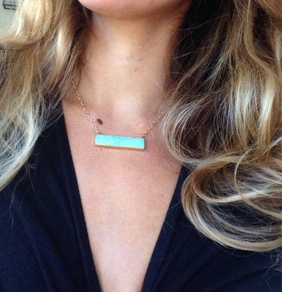 PreOrder: Gold edged Chrysoprase Side Bar Necklace by joydravecky