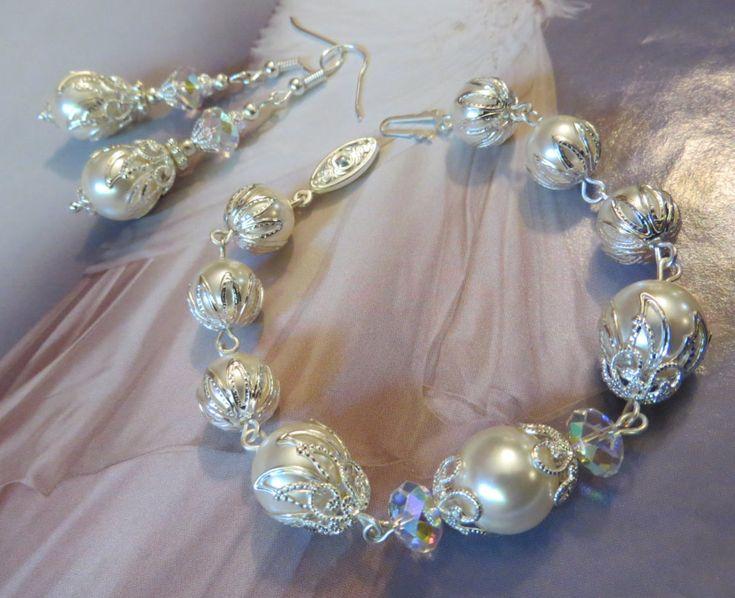 WEDDING JEWELLERY SET Earrings & Bracelet Swarovski Crystal Pearl Silver Wedding Ivory white Bridal Jewelry Filigree Vintage Gift for her