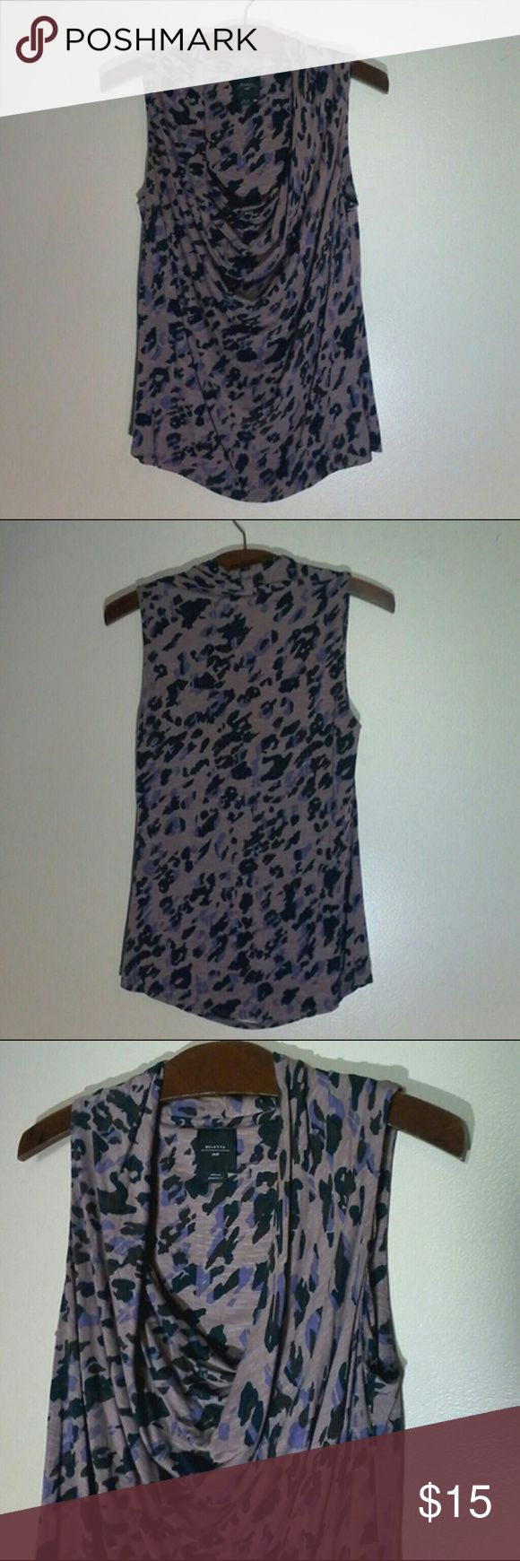 Anthropologie Deletta Purple Leopard Print Top Worn once, top is in great condition!  95% Rayon 5% Spandex Anthropologie Tops