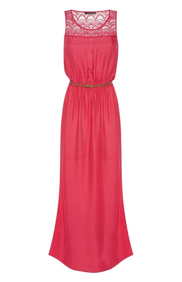 Primark - Vestido maxi vermelho cereja em croché com cinto