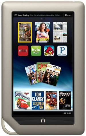 Nook Tablet. I can read with this in full sunlight. Watch full movies and store up to 32GB of data on a Scan Disk Card. Also read thousand's of new free releases.