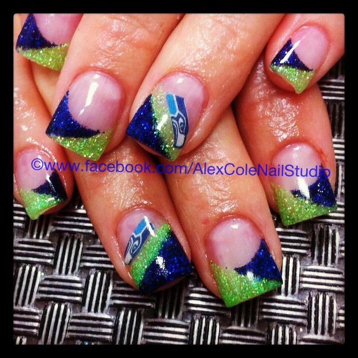 Seattle Seahawks acrylic nail art, perfectas para @AnaAgudeloM: Nailart, Seahawks Nails, Nail Designs, Seattle Seahawks, Acrylic Nails, Nail Ideas, Seahawks Baby, Nail Art