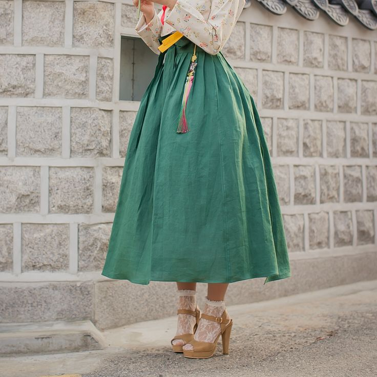 생활한복 함초롬 허리치마 수박색 : 다래원 한복
