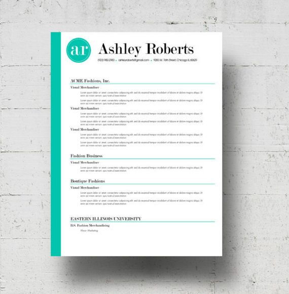 Resume Template / CV Template - The Ashley Roberts Resume Design - Instant Download - Word Document / Docx / Doc Format