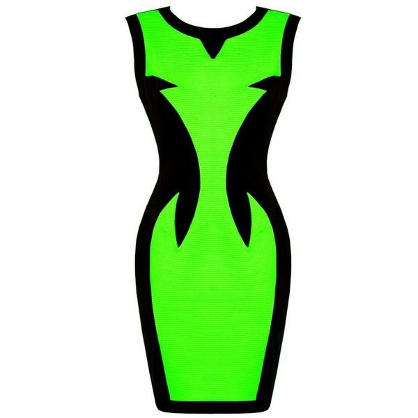 Lovarni Contrast Panel Mini Dress | Neon Green Panel Mini Dress ($53) ❤ liked on Polyvore