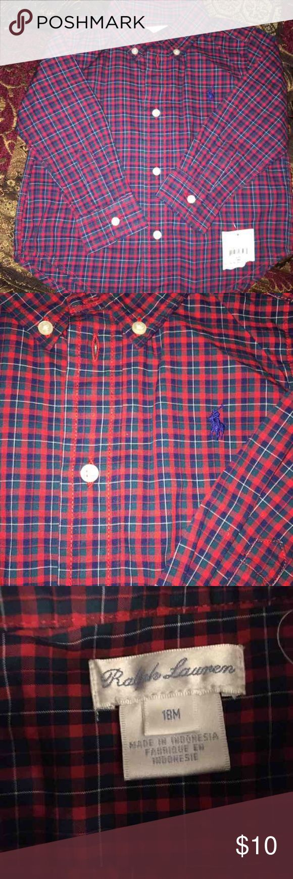 Baby Boy Ralp Lauren Shirt New worn Plaid Ralph Lauren Shirts & Tops Button Down Shirts