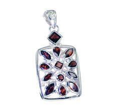 ideal Garnet Silver Red Pendant jewellery L-2in US