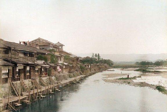 Kamo River Kyoto JAPAN(1880s) 京都鴨川(1880年代)