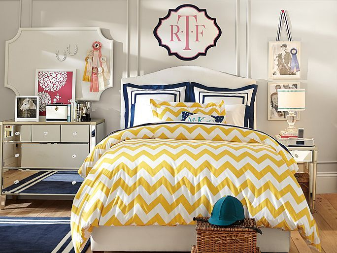 PBteen Raleigh Chevron Bedroom on pbteen.com..mo's colors..yellow.navy.pink