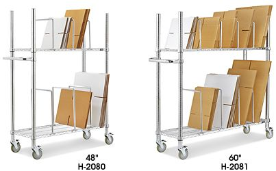 "♔ CARDBOARD STAND/ WIRE CARTON STAND, $249 AND $279, LOAD CAPACITY = 800 LBS. 48 x 18 x 68"" AND 60 x 18 x 68"". ADJUST SHELVES IN 1"" INCREMENTS."