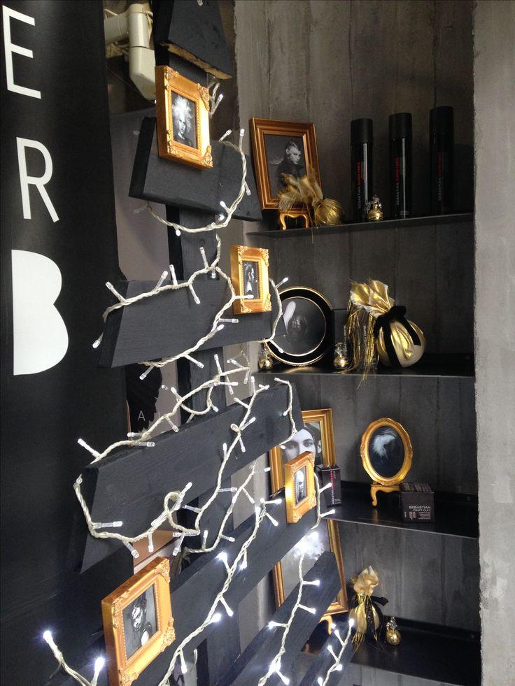 Black Christmas tree gold frames