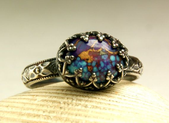 Purple Turquoise Ring Sterling Silver by TazziesCustomJewelry