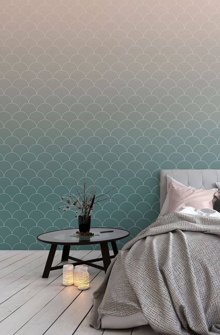 Imagine daydreaming in this bedroom! Gorgeous teal tones fade into powder pink, overlay with a stylish scallop tile. Pair with grey bedding for ultimate sophistication with a hint of feminine decor, perfect!