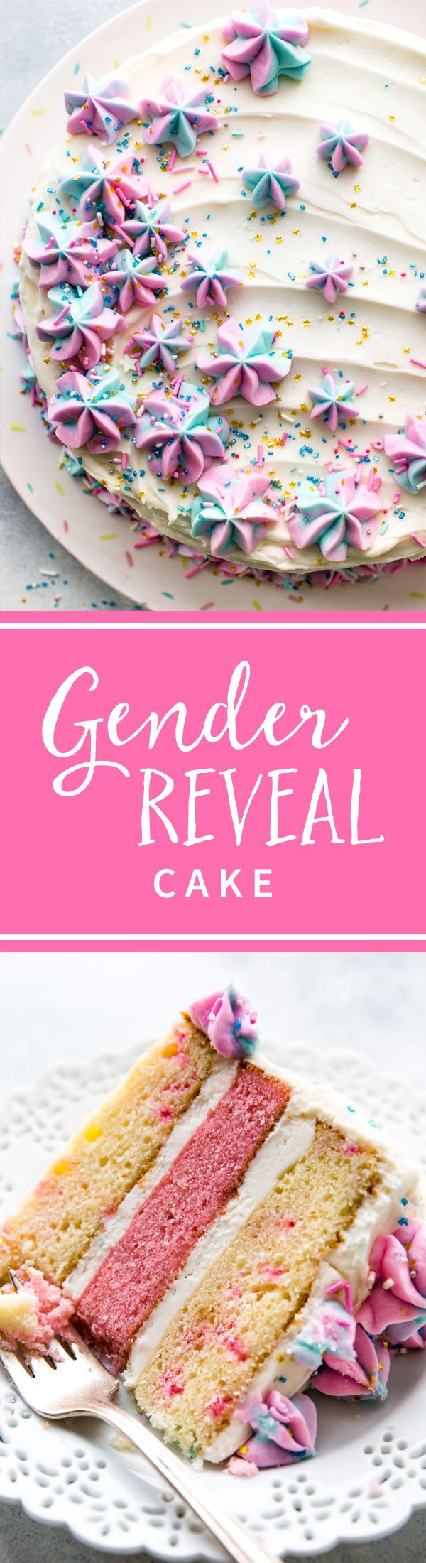 How to make a gorgeous and festive gender reveal cake for a gender reveal party or baby shower! Homemade cake recipe on sallysbakingaddiction.com