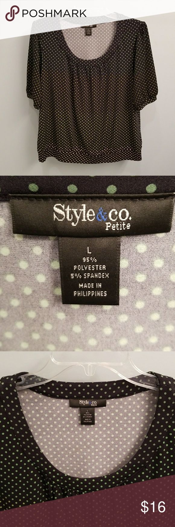 Style & Co. Black and Green Polka Dot Top in Large Green & black polka dot short sleeve top from Style & Co Petite in a size large P. 95% polyester & 5% spandex.  This top measures approximately 23 inches from the top of the shoulder to the bottom & 18 inches from armpit to armpit.   This top has an ombre effect as the color of the polka dots get lighter.  The neckline & shoulders have a dark green and at the hem the polka dots are a cream color.  Very pretty.  Scoop neckline & the sleeves…