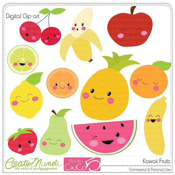 Buy 2 get 1 FREE - Kawaii Fruits - Digital Clip Art , Commercial Use Clipart, Scrapbook, Printable - INSTANT DOWNLOAD