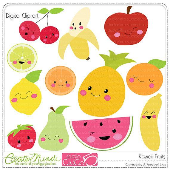 Buy 2 get 1 FREE - Kawaii Fruits - Digital Clip Art , Commercial Use Clipart, Scrapbook, Printable - INSTANT DOWNLOAD