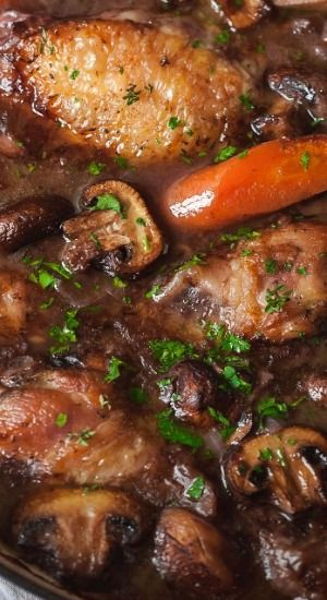 "This Coq Au Vin (French for ""Chicken in Wine"") is one of those dishes that is good enough to serve for a fancy dinner! The rich taste in this wonderful dish comes from the quality ingredients and a few spices artfully put together. No chef skills required. Have no fear, it's impossible not to ace it!"