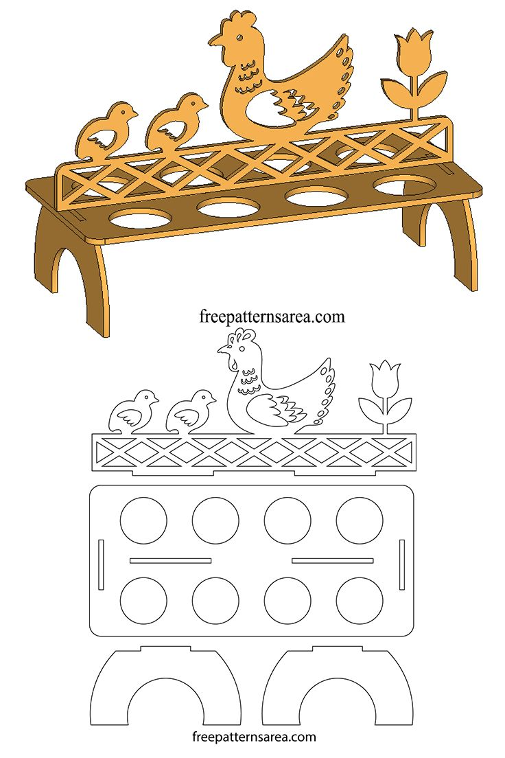 A wooden egg stand plan for laser cutting machines that can carry 8 eggs. There are chicken, chick and tulip flower designs on the stand. This stand will be also a decorative object thanks to its artistic design. Children will love this stand as much as adults. In addition to your organic eggs, it will