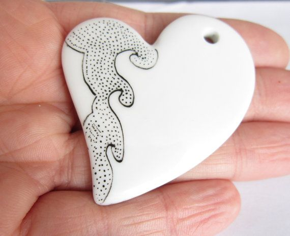 Heart Black dots and White ceramic pendent  OOAK by ile1974, €16.00