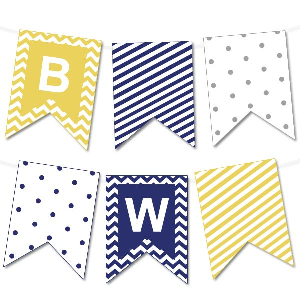Chevron and Striped Printable Bunting Banner | Printable Party Decor