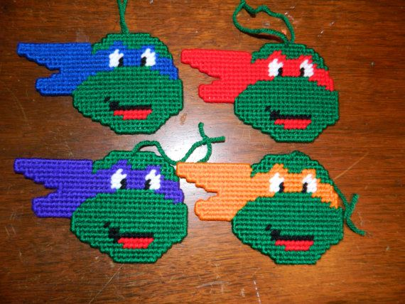 Plastic Canvas Ninja Turtle Ornaments or Magnets by PLCBoutique, $10.00