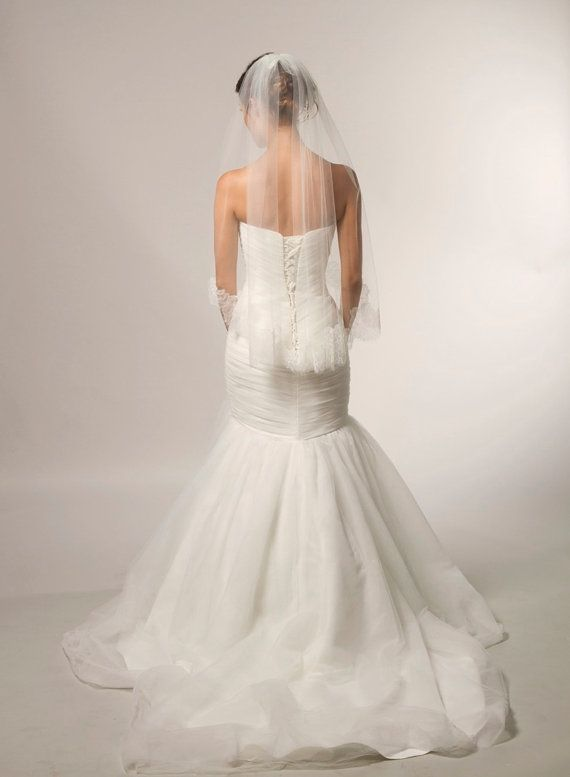 Chantilly Lace Veil, Couture Bridal Veil, Ivory Veil, Lace Veil, Bridal Accessories, Cathedral Lace Veil