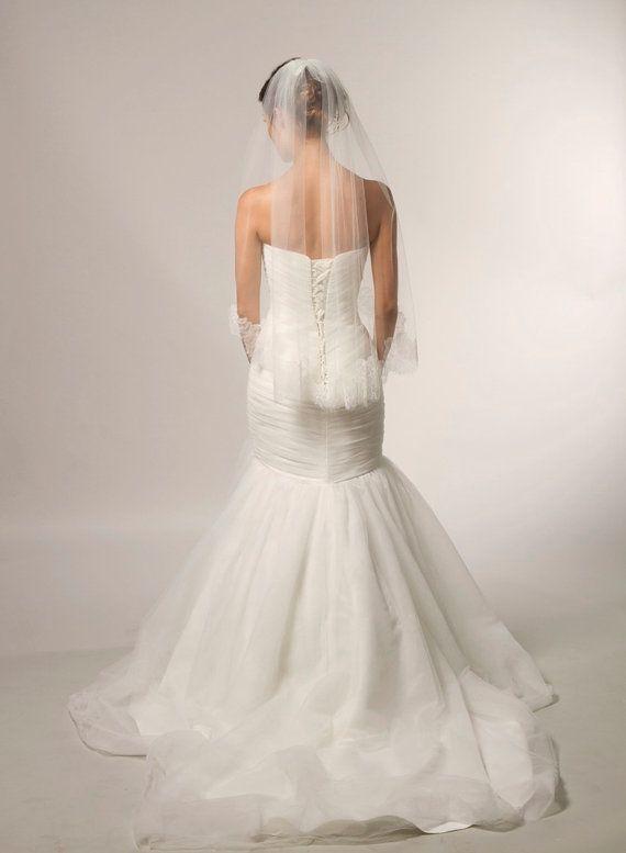 Chantilly Lace Veil Couture Bridal Veil by CoutureBrideBoutique