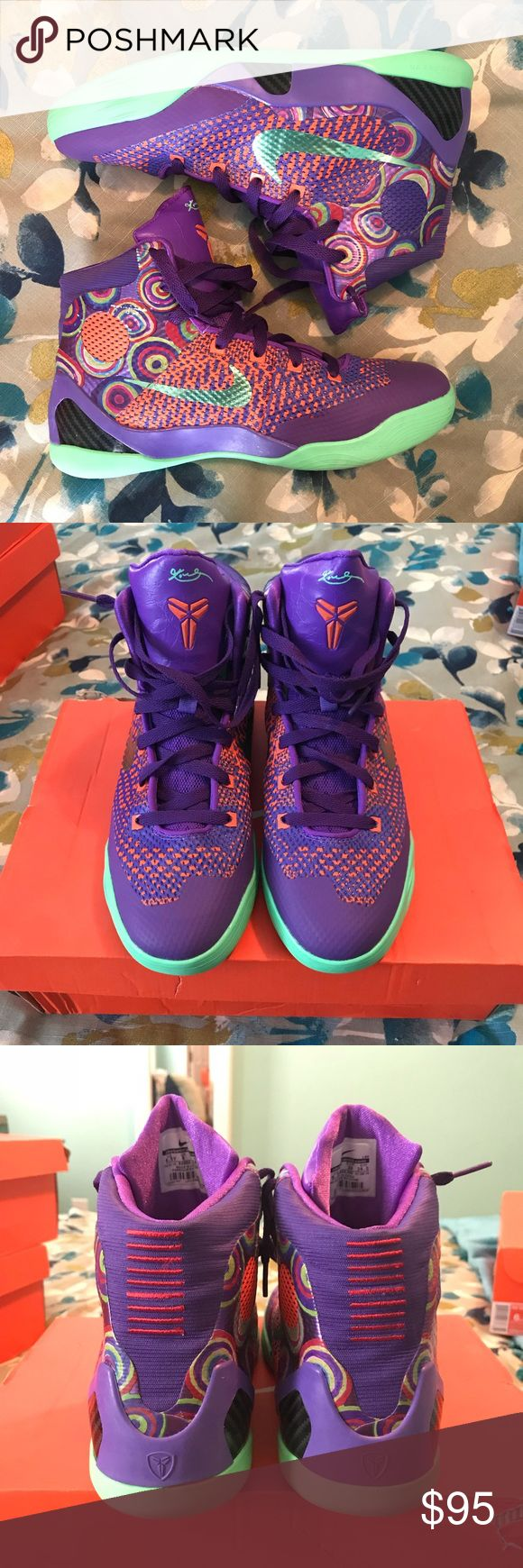 Kobe IX Elite (GS) High top basketball shoes. Colorful and fun! Super comfortable and offer solid ankle support. Worn only 3 times. Nike Shoes Sneakers