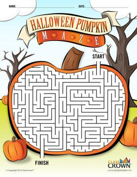 ClassCrown Halloween Pumpkin Maze - Check out this cool pumpkin maze for the kiddos this Halloween.  It's free!