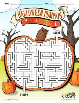 ClassCrown Halloween Pumpkin Maze - Check out this cool pumpkin maze for the kiddos this Halloween.  It's free!