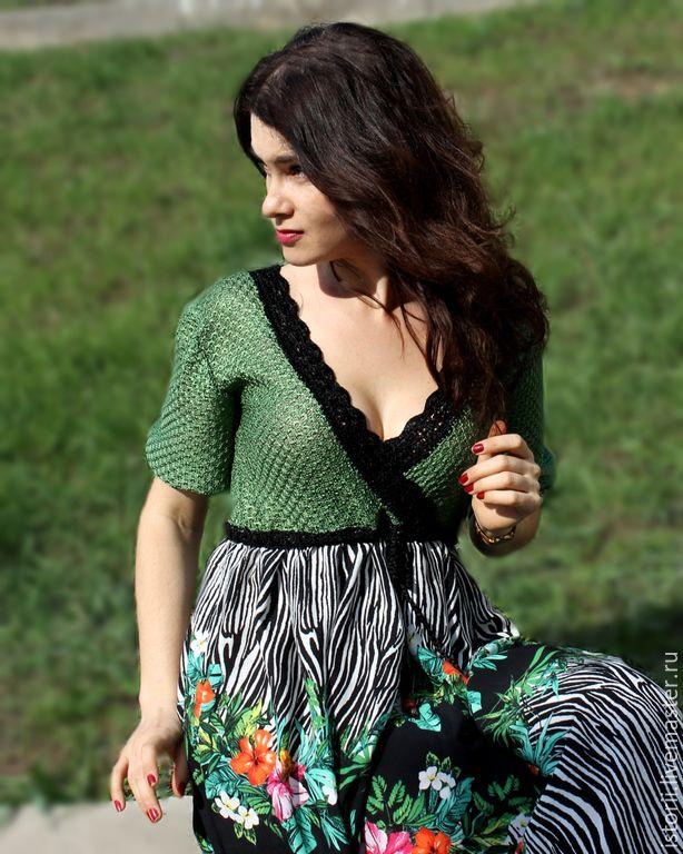 """Купить Платье из шелка и штапеля """"Экзотические цветы"""" - разноцветный, шелковое платье, штапель вискозный"""