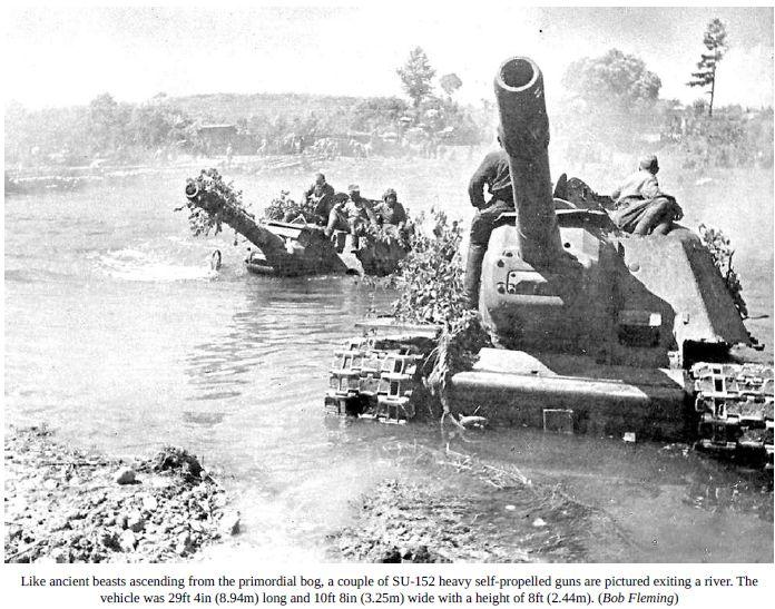 SU-152 crossing a river