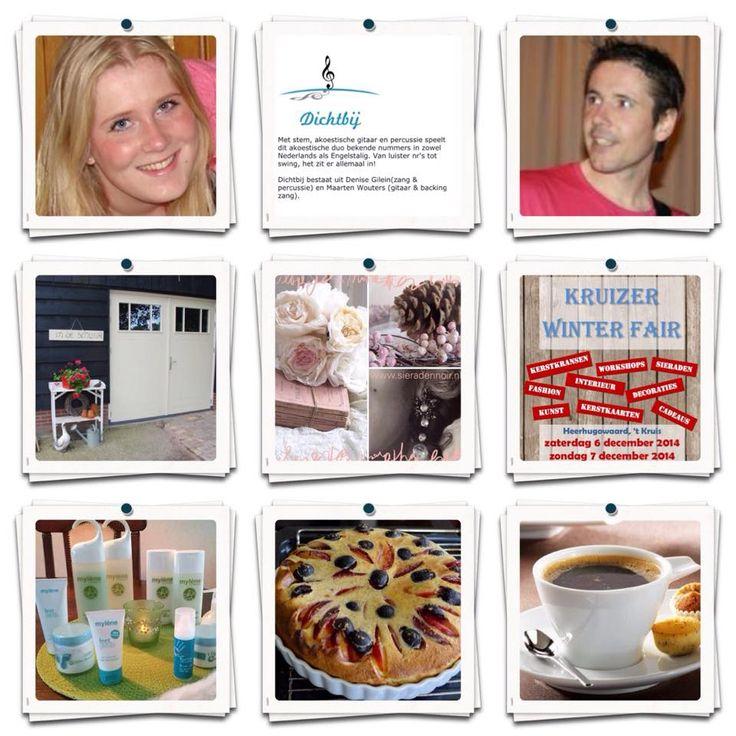 In de Schuur.tijdens de Kruizerfair 2014. jan Glijnisweg 52 cadeaus, decoraties. gebreide accessoires, Myléne verzorging gelaat en lichaam, sieraden Noir, Cup of Tea, met homemade taart. en op zondag optreden van Denise Gilein en Maarten Wouters.