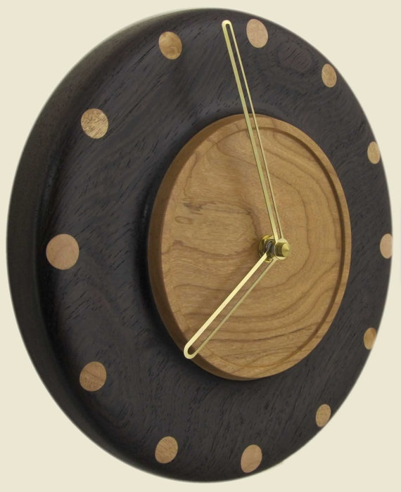 Turned wood wall clock of wenge and cherry by twigsoup on Etsy, $54.00