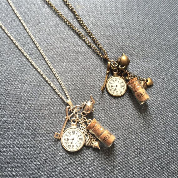 Alice in Wonderland necklace, long necklace, daughter gift, gift for her, pocket watch necklace, steampunk necklace, Christmas gift