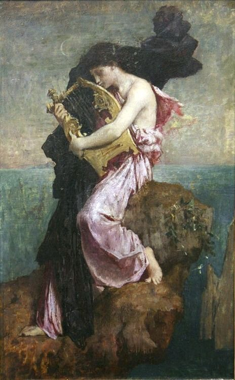 Sappho Kissing her Lyre ~ Jules-Élie Delaunay ~ (French: 1828-1891)
