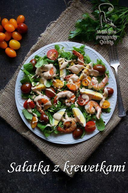 Kulinarne przygody Gatity - przepisy pełne smaku: Sałatka z krewetkami i różowym sosem