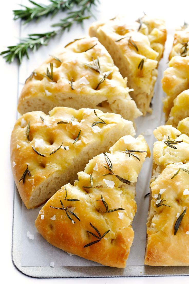 This delicious Rosemary Focaccia Bread is super easy to make, and topped with lots of fresh rosemary, olive oil and sea salt.
